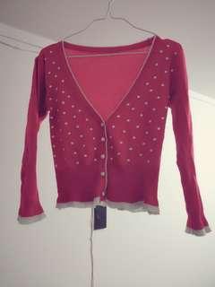 Red white dot cardigan