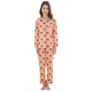 TCWK Teddy Bear Satin Suit Long Sleeve Long Pant With 3 Colour S1029