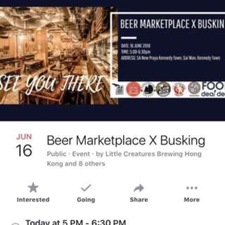 "有得試5款手工啤酒 + 野食!  On coming Saturday (16 Jun), FoodDealDeal will host a ""Beer Marketplace X Busking"" event @ Little Creatures Brewing, together with 5 other well-known breweries in HK and 2"