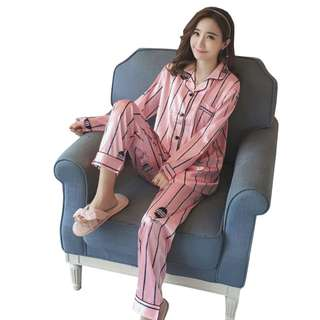 TCWK Satin Suit Long Sleeve Long Pant Blue & Pink Nightwear S1060