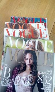 Five Vogue Magazines + Free Elle Magazine