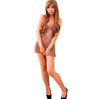 TCWK Sexy Woman Transparent Nightdress Lingerie Grey With G-string FF54