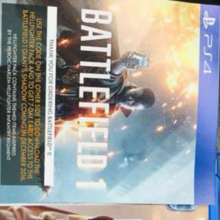 PS4 Battlefield 1 DLC Weapon Code