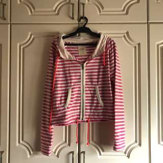 Cotton On Zip Up Striped Hoodie