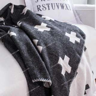 Large Double Sided Scandinavian Style Black And White Wool Blanket. (Cross X pattern)