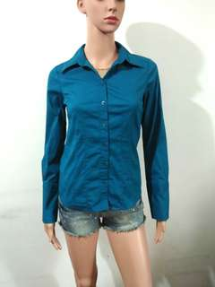 (XS) Suzy teal green polo longsleeeves top