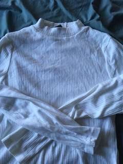 High neck white skivvy
