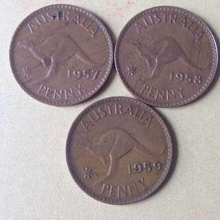 Australia QE Penny (1957,58 & 59)