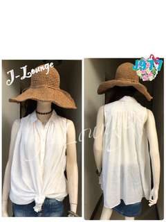 🚚 J977全新日本專櫃Attar bien無袖皺折寬鬆造型襯衫氣質文青小清新學院上學上班森女 shirt J-Lounge