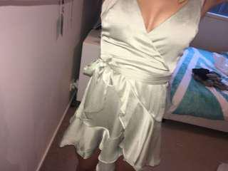 Khaki Silk Dress