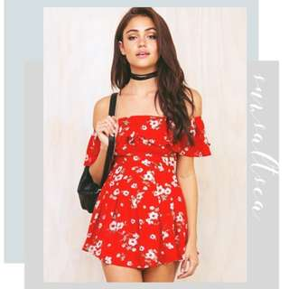 Ariel Off The Shoulder Playsuit In Style of Princess Polly