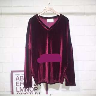 Maroon Velvet Long Sleeve Top