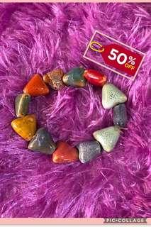 Rainbow Heart Stones Bracelet