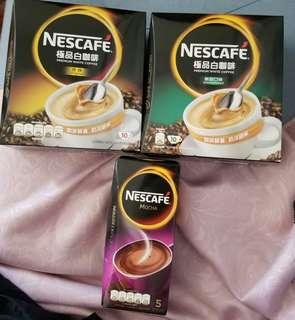 NESCAFE PREMIUM WHITE COFFEE (Original & Unsweetened) & MOCHA 雀巢 極品白咖啡 原味 及 無,甜口味 10條裝沖劑 另有摩卡 5條裝沖劑 大量現貨