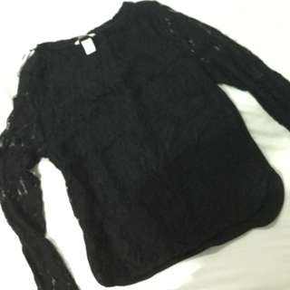 H & M Black lace long sleeves