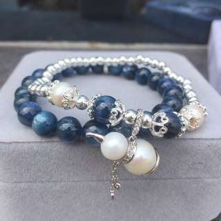天然藍晶石+淡水珍珠 925銀手鏈