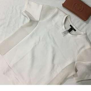 Forever 21 White Mesh Shirt (Back See Through)