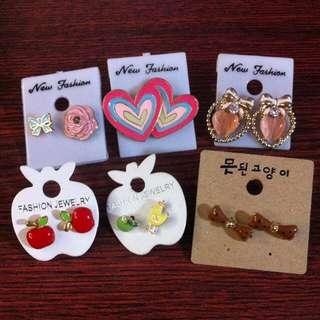 🚚 韓國耳環蘋果小雞玫瑰蝴蝶結耳釘
