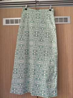Light Green Batik Pattern Long Skirt