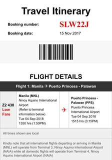 Manila to Puerto Princesa Airfare Ticket