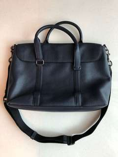 Coach leather shoulder bag navy