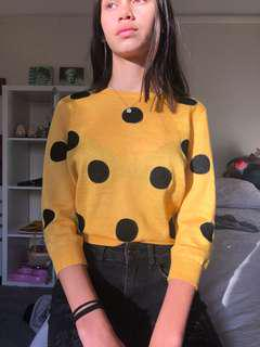 Yellow Long Sleeve Crop Top With Black Spots