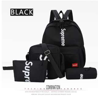 Supreme 4 pcs set backpack sling bag
