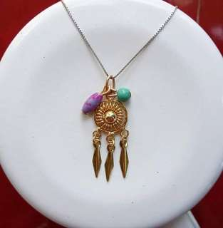 Gold dream catcher pendant