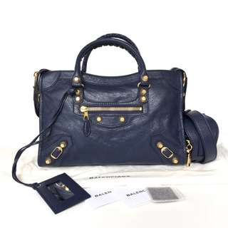 Authentic Balenciaga Classic City Small Navy Blue