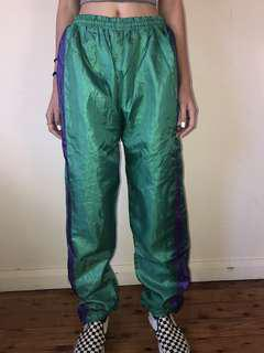 Green Puffy Trackpants With Purple Stripe