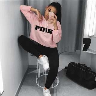 PINK Printed Crop Top Hoodie