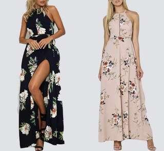BRAND NEW Floral Slit Maxi Dress (Navy & Nude Beige)