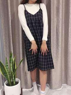 Navy checkered slip dress