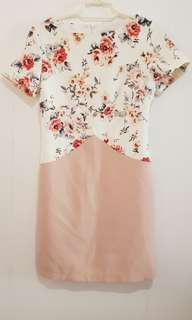 CLN Floral White and Beige dress