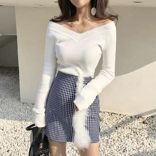 [ READY STOCK ] OFF SHOULDER KNIT TOP WHITE