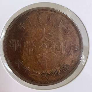 For sharing only. 1906 皖字 China copper coin 20 cash