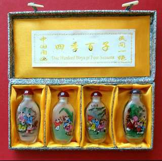 Glass painted snuff bottles