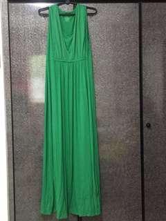 Green maxi maternity dress