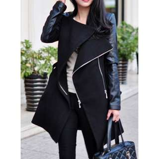 Stand-Up Collar Long Sleeve Zippered Coat TG