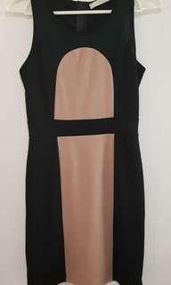 CLN Black and brown bodycon dress
