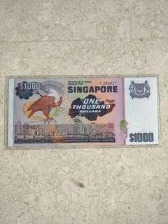 SINGAPORE $1000 BIRD FIRST PREFIX A/1 294017 AU/UNC