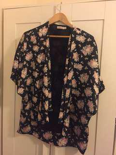 Floral Silky Cape Top - size 12