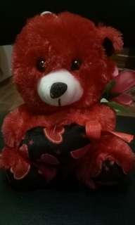 Red teddy bear w flower