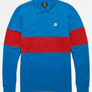 ab68225ef384cb Converse x Golf Wang Le Fleur Blue Long Sleeve Polo Shirt