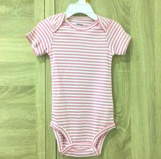 🚚 Pekkle 24M Short-Sleeve Bodysuits 粉紅白條紋包屁衣