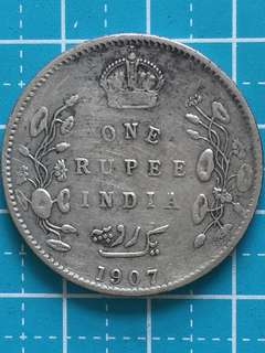 India - British King Edward Silver Coin 1 Rupee Year 1907