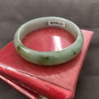 天然翡翠手鐲 飄綠黃翡 貴妃54.8