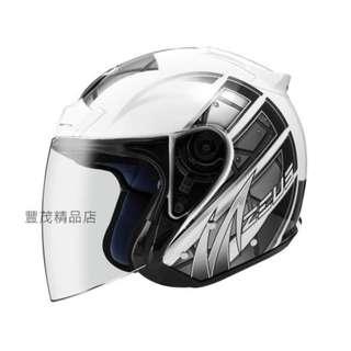 🚚 ZEUS 瑞獅 ZS 609 3/4罩/半罩 安全帽 內襯全可拆 - 白/銀