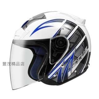 🚚 ZEUS 瑞獅 ZS 609 3/4罩/半罩 安全帽 內襯全可拆 - 白/藍