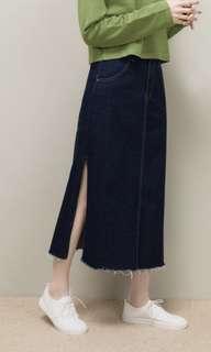 全新吊牌未剪✨Meierq 側邊開衩牛仔裙 非常剛好美的長度